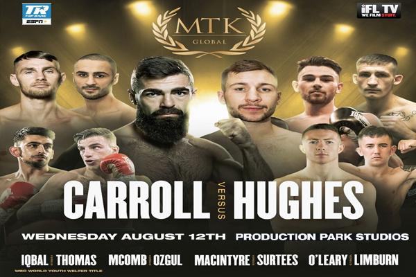 Enlace a la emisión en directo de la velada Carroll-Hughes de MTK por YouTube