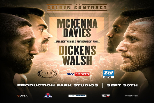 Enlace a la emisión en directo del evento de MTK Davies-McKenna, final del peso superligero del torneo Golden Contract
