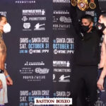 Imagen del pesaje del combate Gervonta Davis vs. Leo Santa Cruz