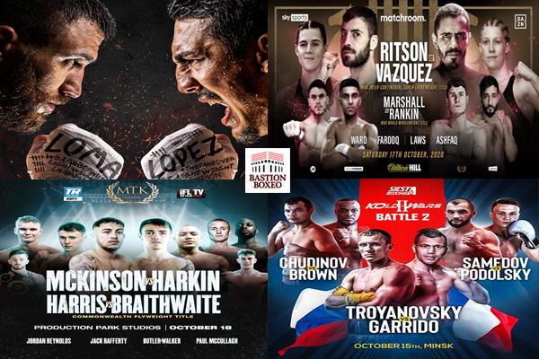 Mosaico de los mejores combates del fin de semana del 15 al 18 de octubre de 2020