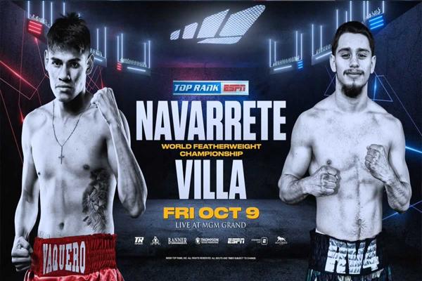 """Previa: """"El Vaquero"""" Navarrete intentará coronarse en una segunda división peleando en mundial del peso pluma contra Rubén Villa"""