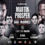 Cartel promocional de la velada de Matchroom Boxing España encabezada por el Sandor Martín vs. Kay Prospere