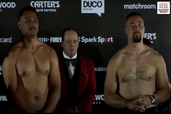 Imagen tras el pesaje del combate Joseph Parker vs. Junior Fa
