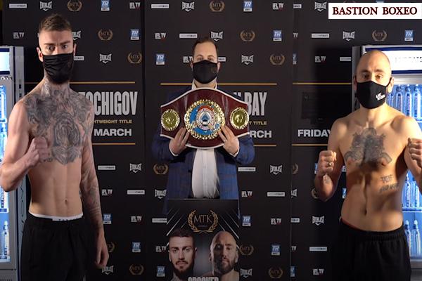 Imagen del pesaje para el enfrentamiento entre Lewis Crocker y Deniz Ilbay