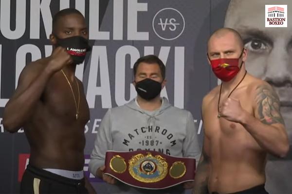 Imagen tras el pesaje para el combate Lawrence Okolie vs. Krzysztof Glowacki
