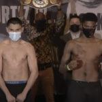 Imagen tras el pesaje del combate Vergil Ortiz vs. Maurice Hooker