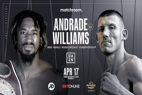 Cartel promocional del evento Demetrius Andrade vs. Liam Williams