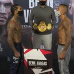 Cara a cara tras el pesaje para el combate Conor Benn vs. Samuel Vargas