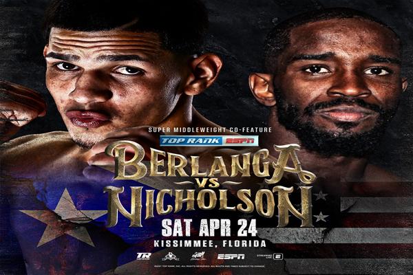Cartel promocional del combate Edgar Berlanga vs. Demond Nicholson