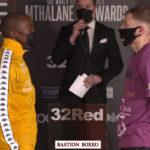 Imagen tras el pesaje para el combate Moruti Mthalane vs. Sunny Edwards