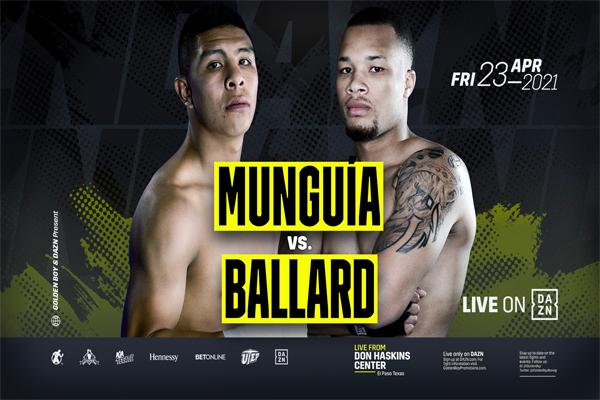 Confirmado oficialmente Jaime Munguía vs. D'Mitrius Ballard el 23 de abril por DAZN