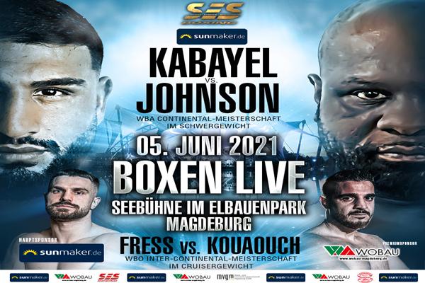 Cartel promocional del evento Agit Kabayel vs. Kevin Johnson