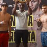 Jaime Munguía y Kamil Szeremeta posan tras el pesaje