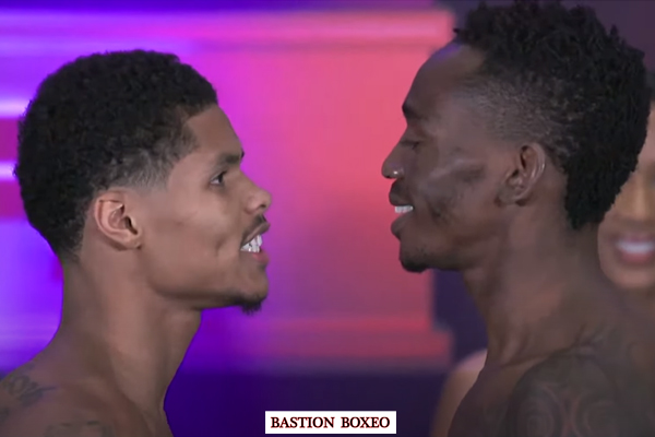 Cara a cara tras el pesaje para el combate Shakur Stevenson vs. Jeremiah Nakathila