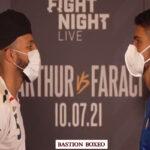 Cara a cara tras el pesaje para el combate Lyndon Arthur vs. Davide Faraci
