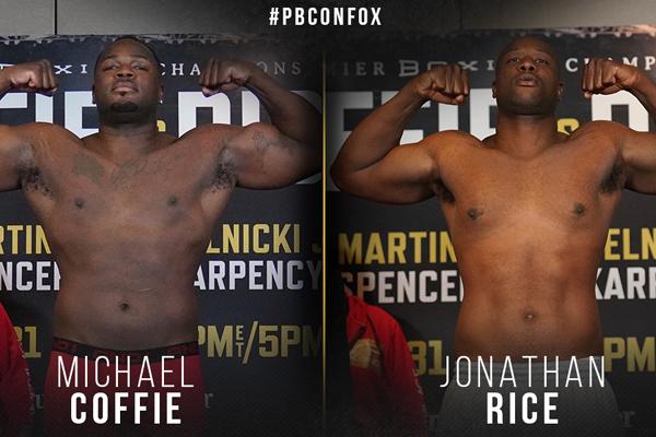 Resultados del pesaje del evento de PBC Michael Coffie vs. Jonathan Rice: múltiples cambios en el respaldo por baja o exceso de peso