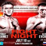 Cartel promocional del evento Tursynbay Kulakhmet vs. Aleksei Evchenko