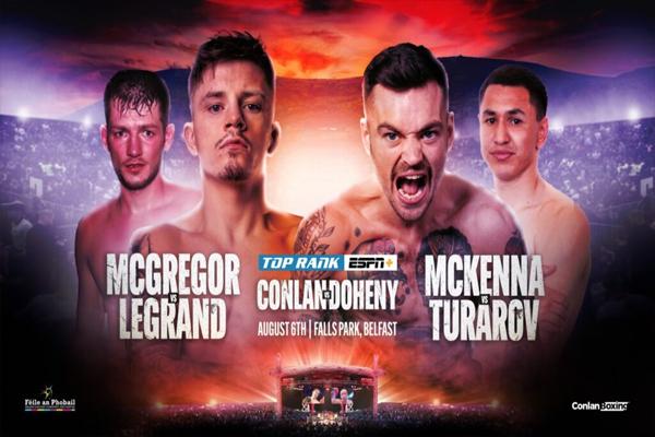 Cartel promocional de los combates Lee McGregor vs. Vincent Legrand y del Tyrone McKenna vs. Zhankosh Turarov