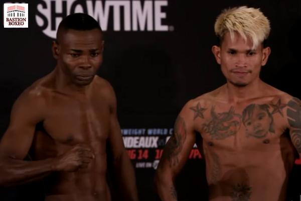 Guillermo Rigondeaux y John Riel Casimero posan tras el pesaje