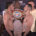 Cara a cara tras el pesaje para el combate Vergil Ortiz vs. Egidijus Kavaliauskas