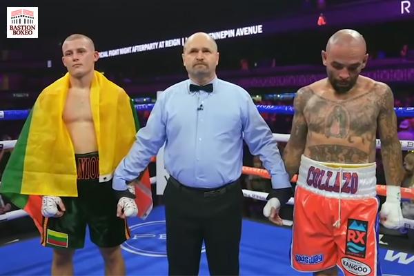 Eimantas Stanionis y Luis Collazo antes de que se decrete el resultado de No Decision.