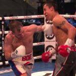 Maxi Hughes conecta cruzado de izquierda contra Jovanni Straffon