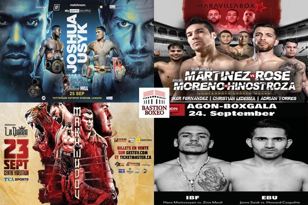 Mosaico de los mejores combates del fin de semana (23al25/9/2021)