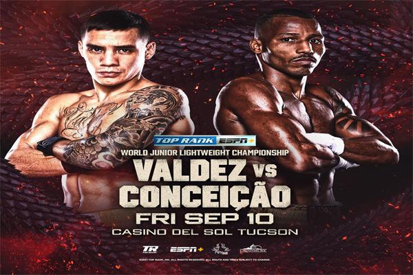 Cartel promocional del evento Óscar Valdez vs. Robson Conceicao