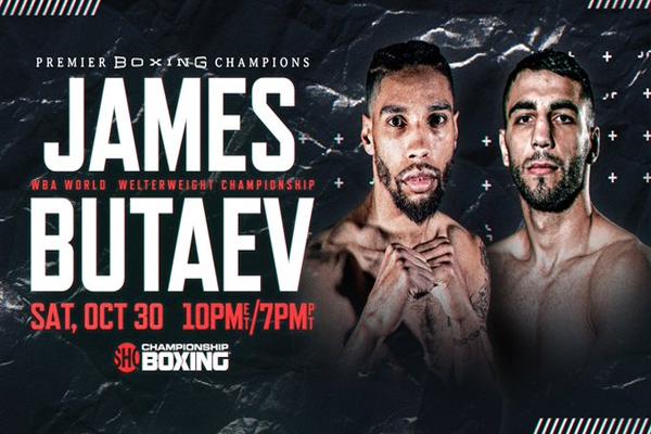 Cartel promocional del evento Jamal James vs. Radzhab Butaev