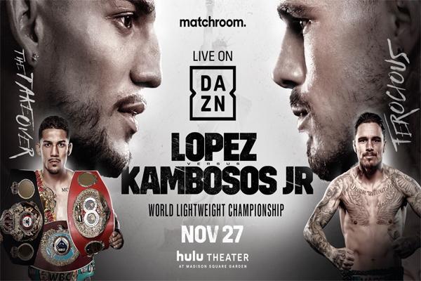 Cartel promocional del evento Teófimo López vs. George Kambosos
